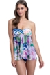 Profile by Gottex Club Tropicana Bandeau Strapless Flyaway One Piece Swimsuit