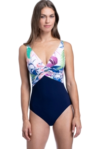 Profile by Gottex Club Tropicana V-Neck Underwire One Piece Swimsuit
