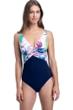 Profile by Gottex Club Tropicana V-Neck Underwire One Piece Swimsuit