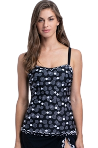 Profile by Gottex On the Dot Black and White D-Cup Scoop Neck Shirred Underwire Tankini Top