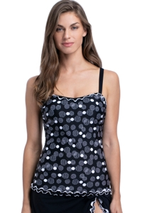 Profile by Gottex On the Dot Black and White E-Cup Scoop Neck Shirred Underwire Tankini Top