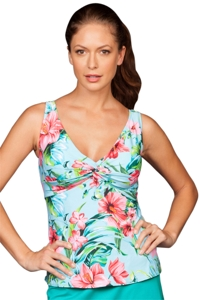 Chlorine Resistant Roxanne St Augustine Floral D-Cup Two-Piece Twist Front Skirtini Set