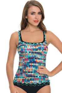 Profile by Gottex Matrix Ruffle Tankini Top