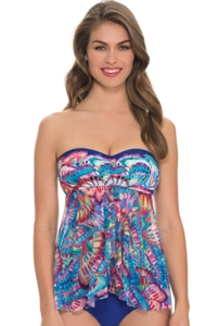 Profile by Gottex Madame Butterfly Fly Away Bandeau Tankini Top