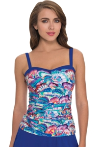 Profile by Gottex Madame Butterfly E-Cup Shirred Underwire Tankini Top
