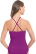 Profile by Gottex Purple Orchid Swan Lake Shirred Bandeau Tankini Top