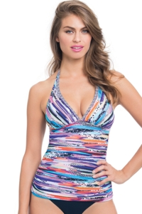 Profile by Gottex Venice Beach Shirred Halter Tankini Top