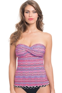 Profile by Gottex Rio Shirred Bandeau Tankini Top