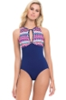 Profile by Gottex Tequila High Neck Keyhole Back One Piece Swimsuit