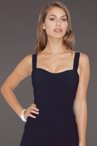 Profile by Gottex Tutti Frutti Black E-Cup Underwire Tankini Top