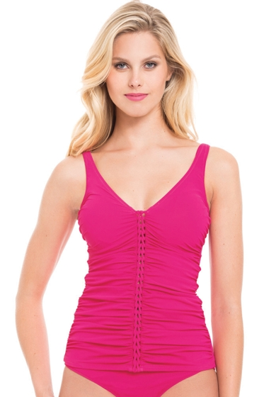 Profile by Gottex Waterfall Rose D-Cup Molded Underwire Tankini Top