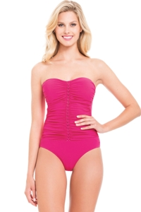 Profile by Gottex Waterfall Rose Bandeau One Piece Swimsuit
