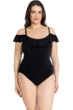 Profile by Gottex Tutti Frutti Black Plus Size Off the Shoulder Ruffle One Piece Swimsuit