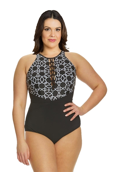 Profile by Gottex Casablanca Plus Size Strappy High Neck One Piece Swimsuit
