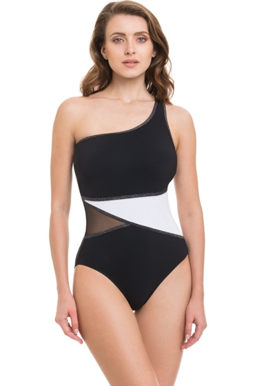 Profile by Gottex Black and White Stargazer One Shoulder Mesh Inset One Piece Swimsuit