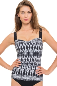 Profile by Gottex Shibori Underwire D-Cup Macrame Back Tankini Top