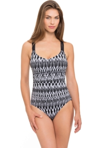 Profile by Gottex Shibori Round Neck Macrame Back One Piece Swimsuit