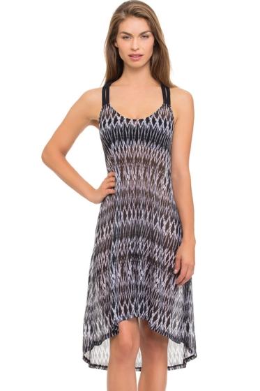 Profile by Gottex Shibori Sheer Mesh Macrame Back Dress