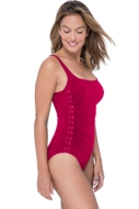 Profile by Gottex Moto Ruby Side Shirred One Piece Swimsuit