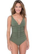 Profile by Gottex Moto Olive D-Cup V-Neck Plunge Shirred One Piece Swimsuit