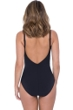 Profile by Gottex Labyrinth Black and White Side Shirred One Piece Swimsuit
