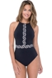 Profile by Gottex Labyrinth Black and White High Neck One Piece Swimsuit