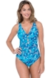 Profile by Gottex Birds of a Feather V-Neck Plunge One Piece Swimsuit