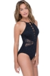 Profile by Gottex Shalimar Black Lace Strappy High Neck One Piece Swimsuit