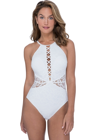 Profile by Gottex Shalimar Ivory Lace Strappy High Neck One Piece Swimsuit