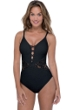 Profile by Gottex Shalimar Black Lace V-Neck One Piece Swimsuit