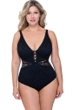 Profile by Gottex Shalimar Black Plus Size Lace Strappy V-Neck One Piece Swimsuit