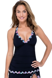 Profile by Gottex Fantasia Black Ruffle V-Neck Halter Tankini Top