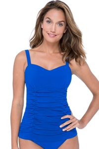 Profile by Gottex Tutti Frutti Sapphire D-Cup Scoop Neck Shirred Underwire Tankini Top