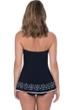 Profile by Gottex Tutti Frutti Black Bandeau Strapless Shirred Laser Cut Swimdress