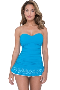 Profile by Gottex Tutti Frutti Peacock Bandeau Strapless Shirred Laser Cut Swimdress