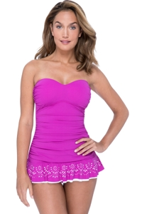 Profile by Gottex Tutti Frutti Warm Viola Bandeau Strapless Shirred Laser Cut Swimdress