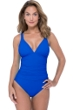 Profile by Gottex Tutti Frutti Sapphire V-Neck Shirred One Piece Swimsuit