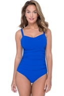 Profile by Gottex Tutti Frutti Sapphire D-Cup Scoop Neck Shirred Underwire One Piece Swimsuit