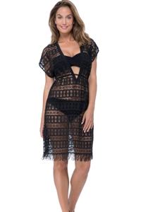 Profile by Gottex Tutti Frutti Black V-Neck Plunge Short Sleeve Crochet Tunic Cover Up