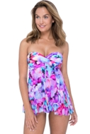 Profile by Gottex Pocket Full of Posies Twist Front Bandeau Strapless Flyaway One Piece Swimsuit
