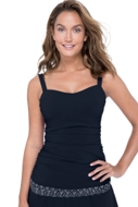 Profile by Gottex Love'n Lace Black D-Cup Scoop Neck Shirred Underwire Tankini Top