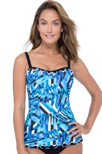Profile by Gottex Tidal Wave D-Cup Scoop Neck Shirred Underwire Tankini Top