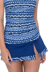 Profile by Gottex Folklore Petrol Blue Side Slit Cinch Swim Skirt