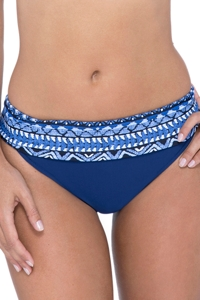 Profile by Gottex Folklore Petrol Blue Fold Over Hipster Bikini Bottom