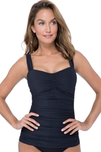 Profile by Gottex Ribbons Black E-Cup Scoop Neck Shirred Underwire Tankini Top