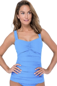 Profile by Gottex Ribbons Bondi Blue E-Cup Scoop Neck Shirred Underwire Tankini Top