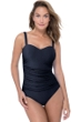 Profile by Gottex Ribbons Black D-Cup Scoop Neck Shirred Underwire One Piece Swimsuit