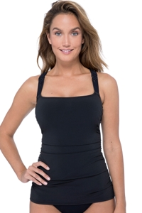 Profile by Gottex Fishnet Black D-Cup Macrame Scoop Neck Underwire Tankini Top