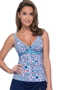 Profile by Gottex Tangier D-Cup V-Neck Tankini Top