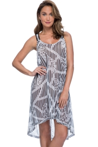 Profile by Gottex Bamboo High Low X-Back Mesh Beach Dress Cover Up